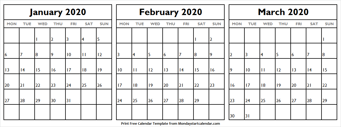 January February And March 2020 Calendar Editable