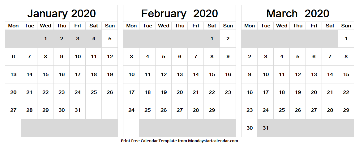January February And March 2020 Calendar Pdf