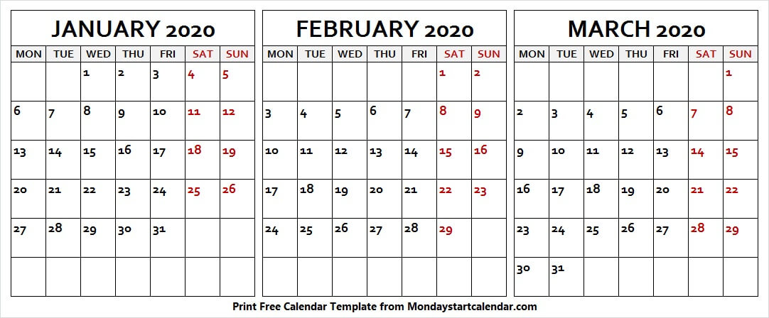 January February March 2020 Calendar Notes