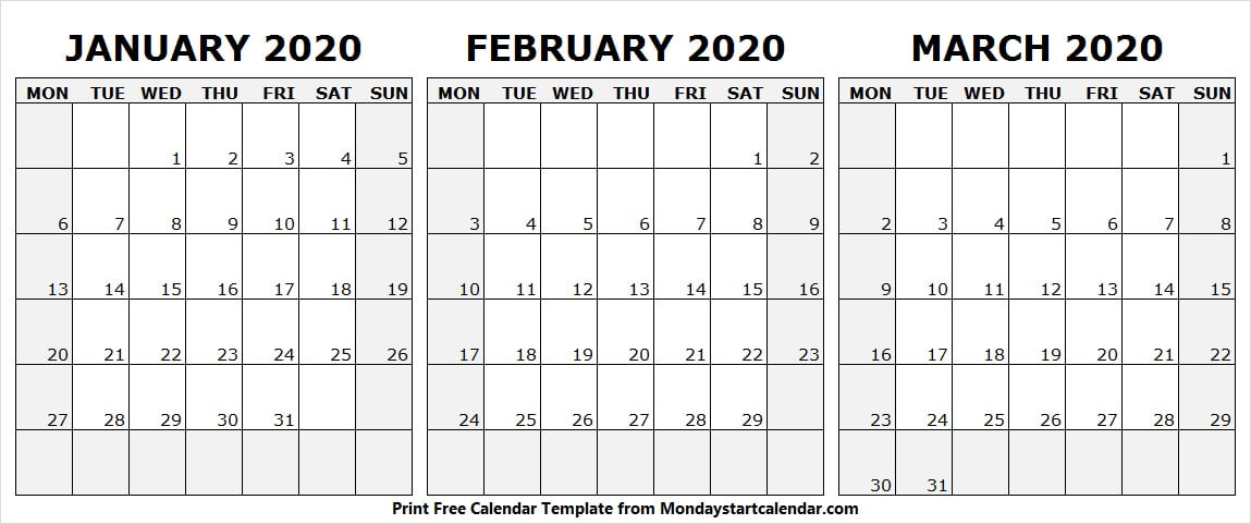 January February March 2020 Calendar Printable Template
