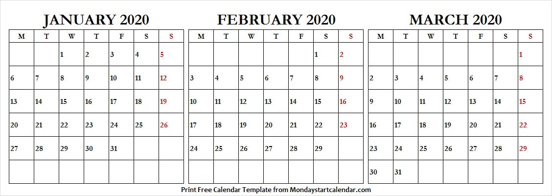 January February March 2020 Calendar With Holidays Us