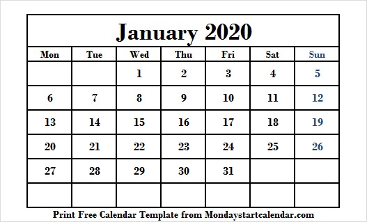 Large Printable January 2020 Calendar