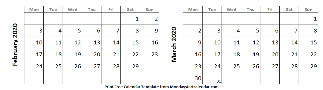 Printable 2 Month Calendar February March 2020