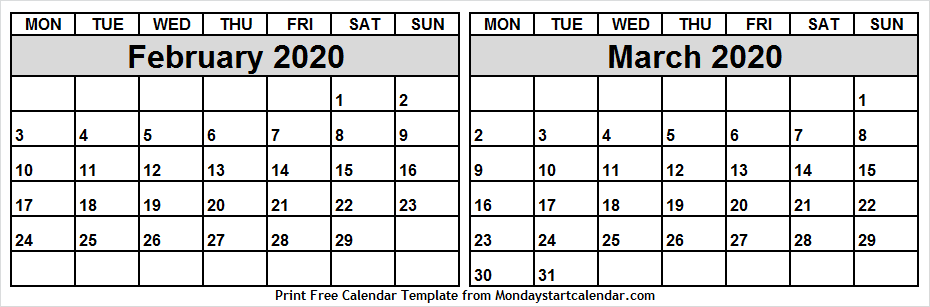 Printable Calendar February To March 2020