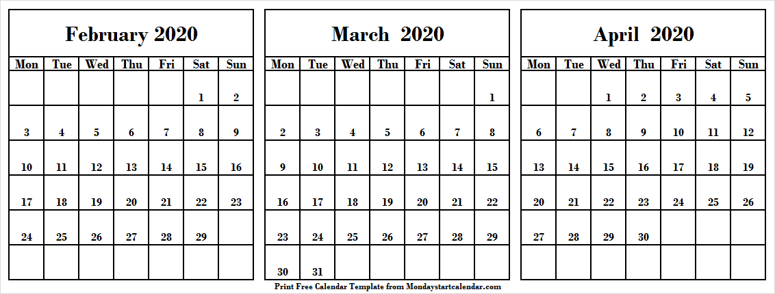 Printable February March April 2020 Calendar