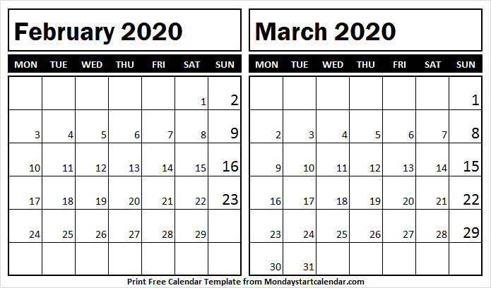 Two Month Calendar February March 2020
