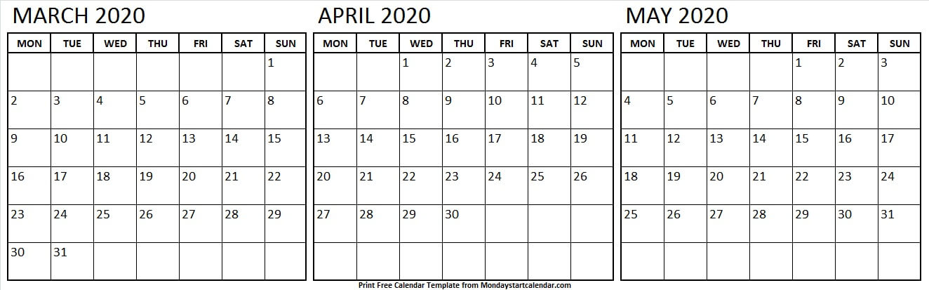 2020 Calendar March April May