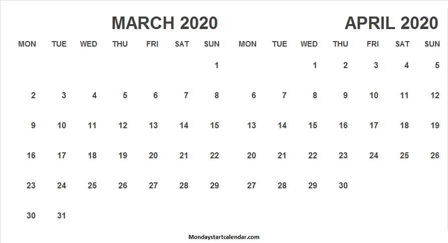 2020 March April Calendar Images
