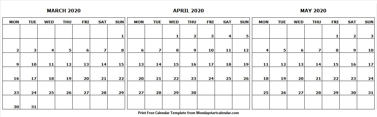 Calendar 2020 March April May