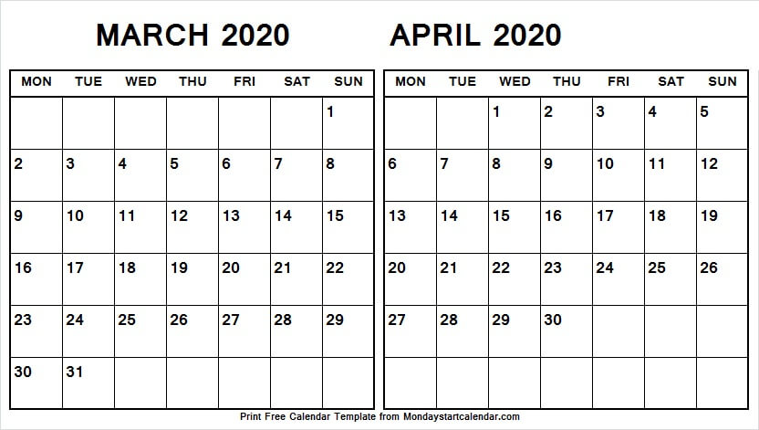 Cute March April 2020 Calendar Template