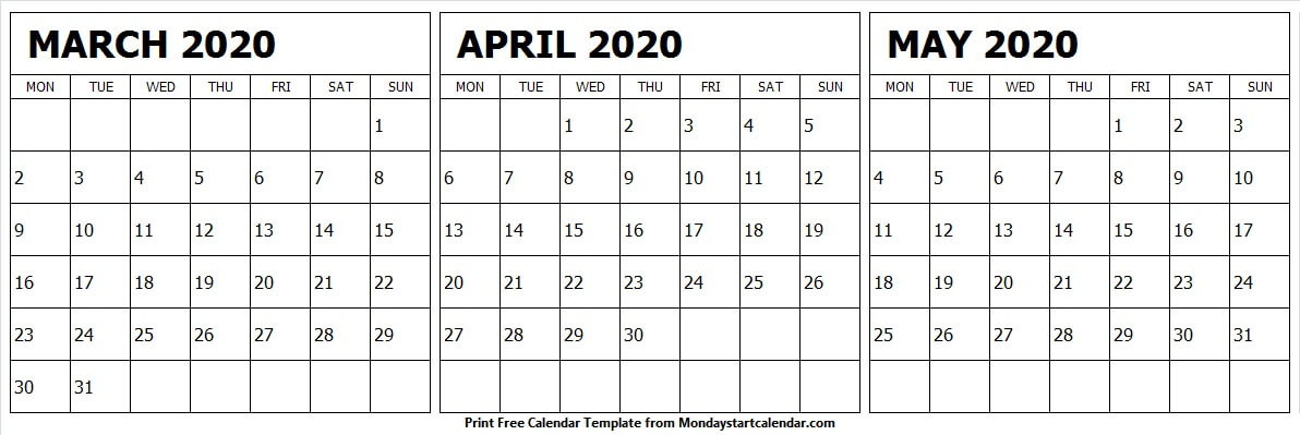 Free Monthly Calendar March April May 2020