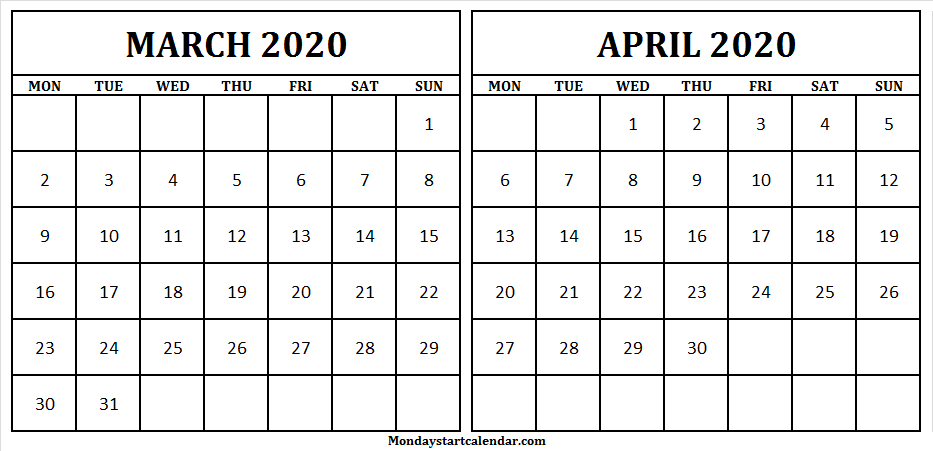 March April 2020 Calendar Editable