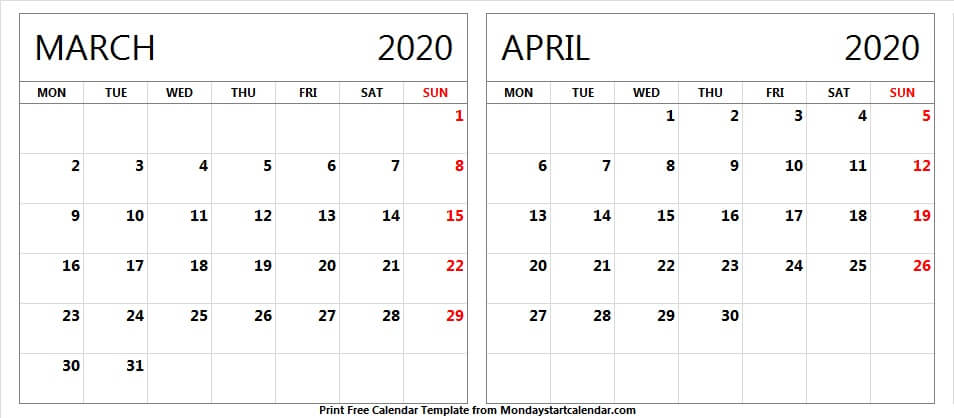 March April 2020 Calendar Free Download