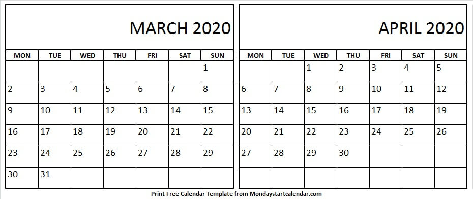 March April 2020 Calendar New Zealand