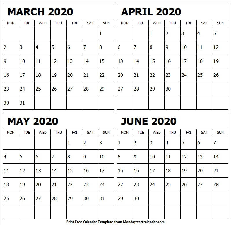 March To June 2020 Calendar Template