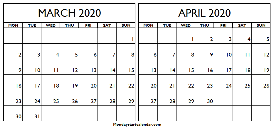 Printable March April 2020 Calendar Canada