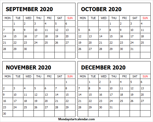 Blank September to December 2020 Calendar Printable