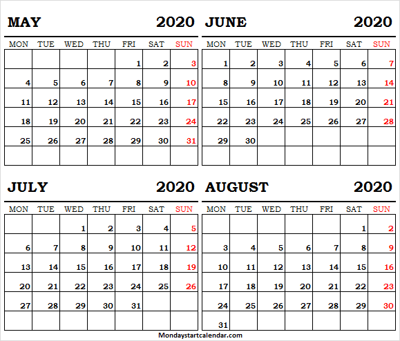 Calendar May June July August 2020 Photo