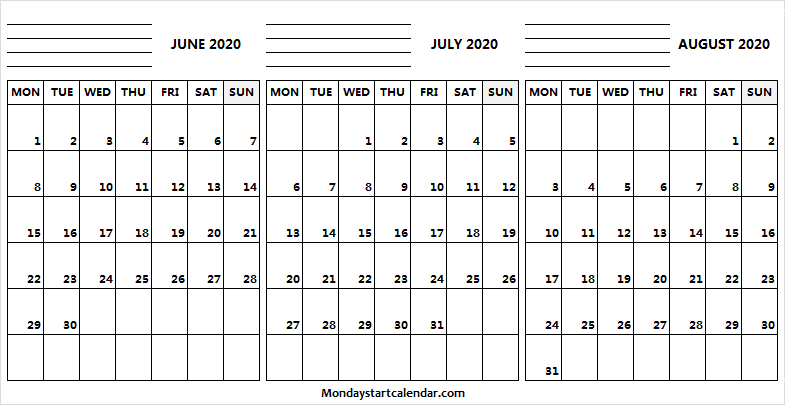 June July August 2020 Calendar and Notes