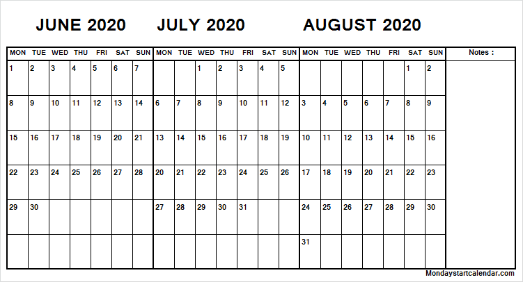 June July August 2020 Calendar with Notes