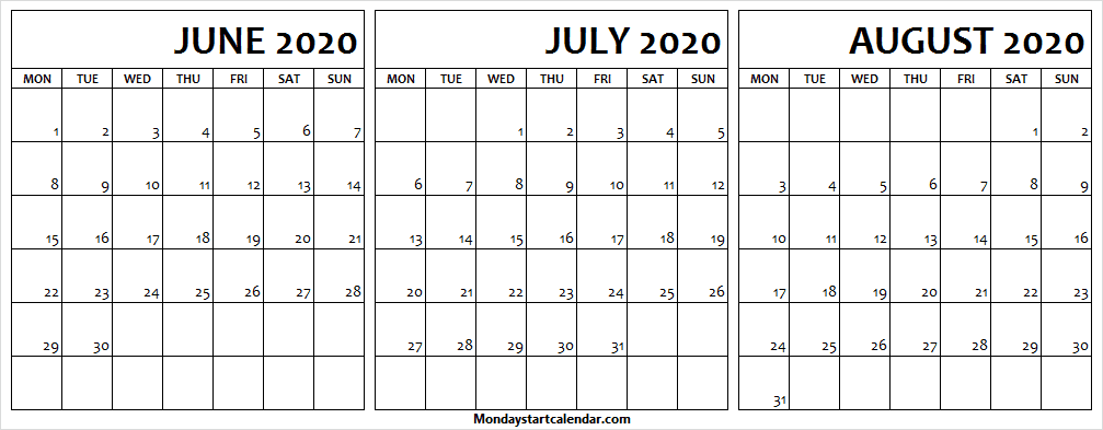 June to August 2020 Calendar Free Template
