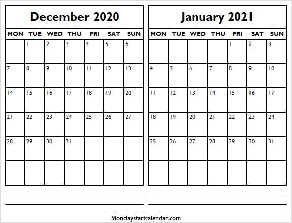 Monday Start Dec 2020 Jan 2021 Calendar   Editable Calendar 2020