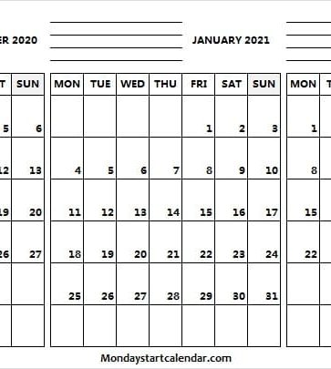December 2020 to February 2021 Calendar with Notes