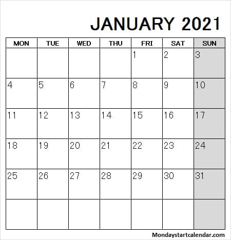 January 2021 Calendar Mon to Fri