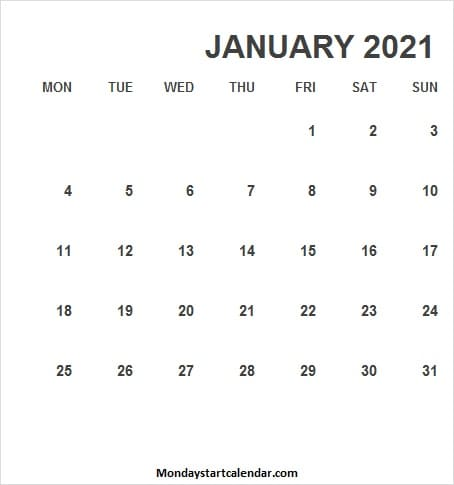 January 2021 Calendar Vertical