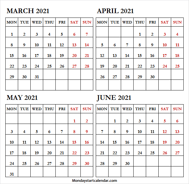 2021 March to June Calendar Free