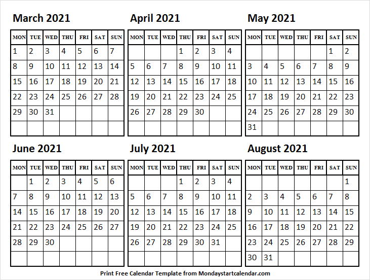 Blank March to August 2021 Calendar