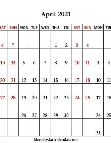 Calendar March to May 2021 Mon - Fri
