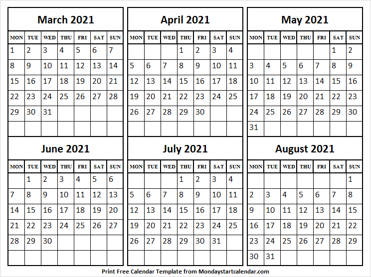 Free Calendar March to August 2021