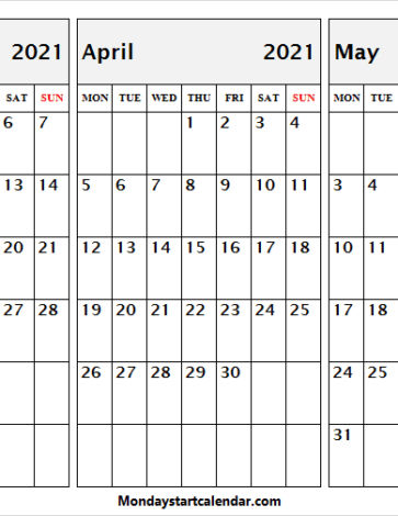 Free Calendar March to May 2021