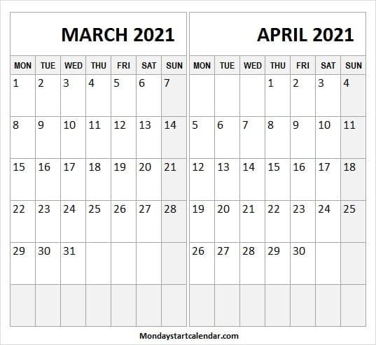 March April 2021 Calendar Template