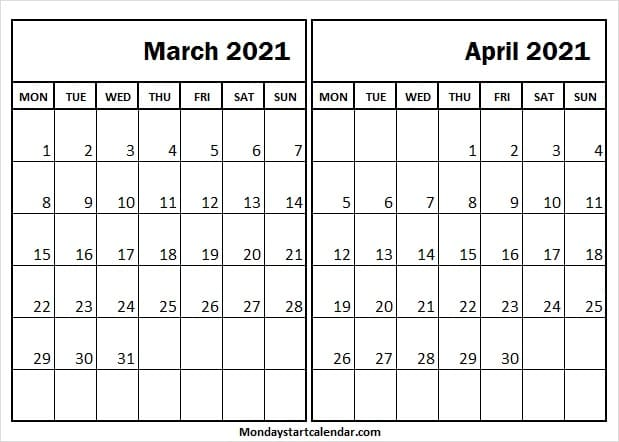 March April 2021 Calendar Vertical