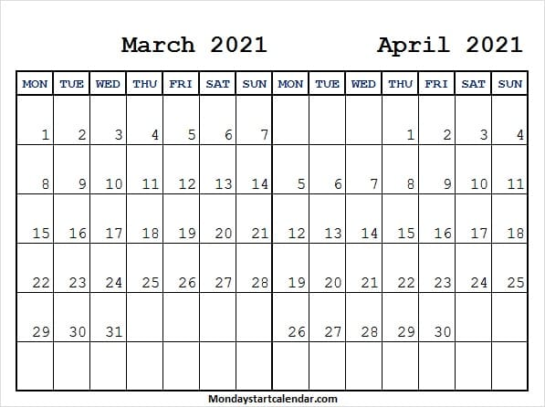 March April 2021 Calendar Weekdays Only