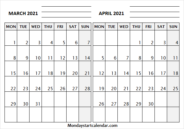 March April 2021 Calendar With Notes and Lines