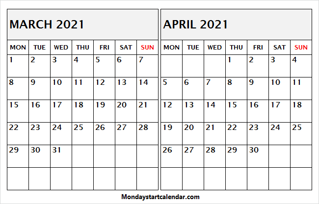 March April 2021 Calendar Word