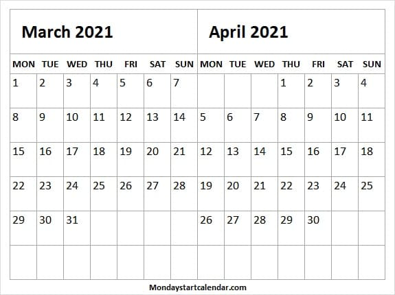 March April 2021 Cute Calendar