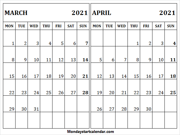 March April 2021 Printable Calendar