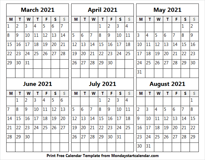 March to August 2021 Calendar Free