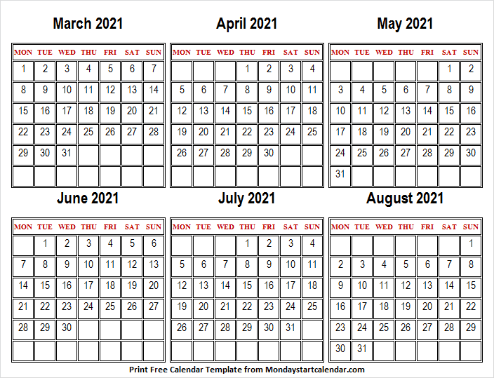 March to August 2021 Calendar Horizontal