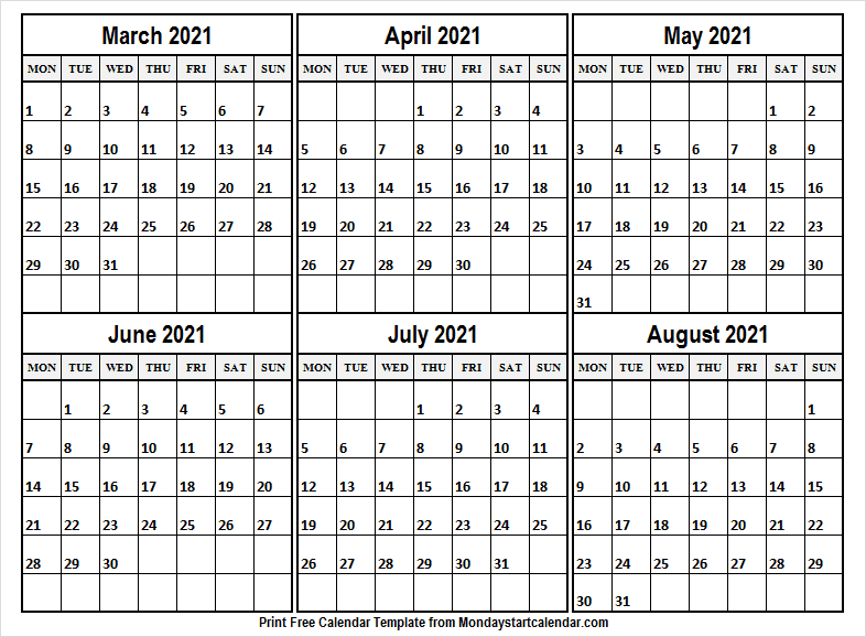 March to August 2021 Calendar Template