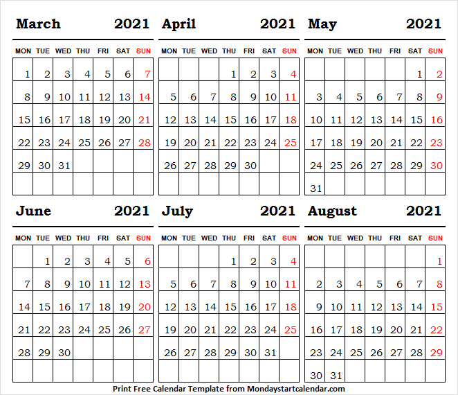 March to August 2021 Calendar