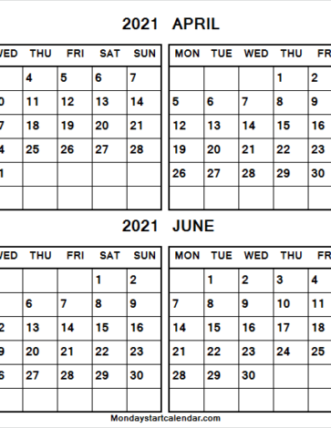 March to June 2021 Calendar Printable