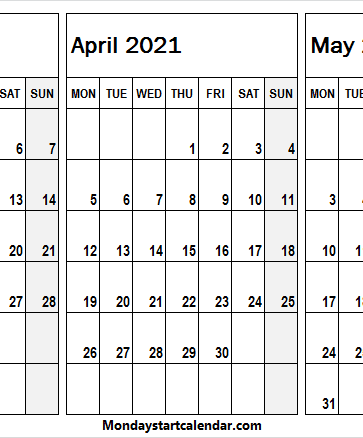 March to May 2021 Calendar Editable