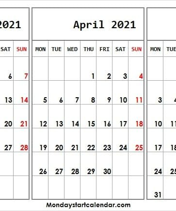March to May 2021 Calendar Weekdays Only