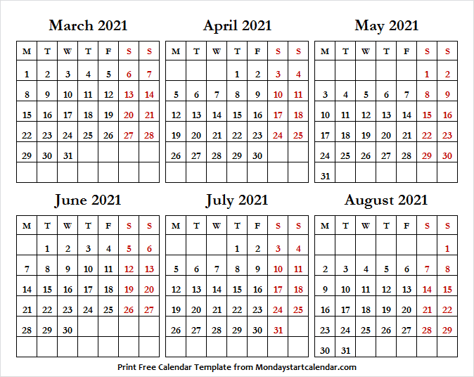 Printable Calendar March to August 2021