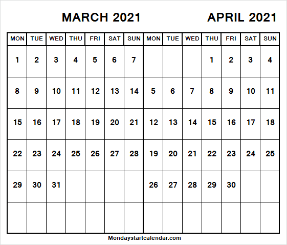 Two Month Calendar Mar Apr 2021